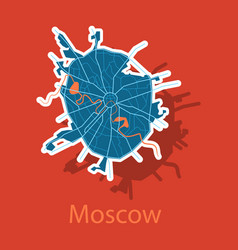 sticker color map of moscow all objects are vector image