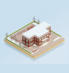 Winter college building outdoor isometric vector