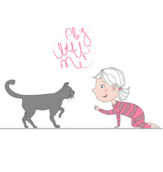 With girl playing with kitten vector