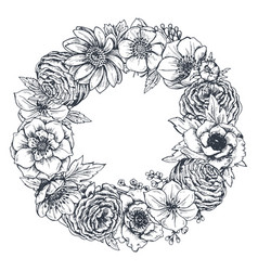 wreath with hand drawn flowers leaves and vector image vector image