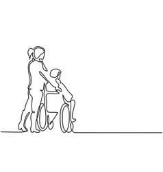young woman push the old man on wheelchair vector image