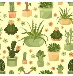 Cactuses and succulents seamless pattern vector
