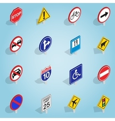 Road sign set icons isometric 3d style vector