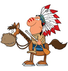 Indian chief with gun on horse vector