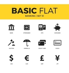Basic set of banking icons vector