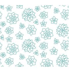 Line art succulent plant seamless pattern on vector