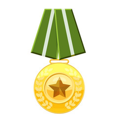 medal with green ribbon icon cartoon style vector image