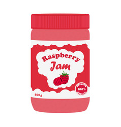 raspberry jam in glass jar made in flat style vector image