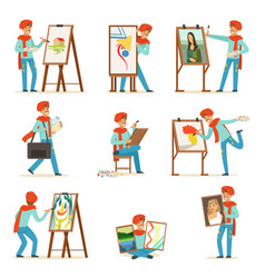 Happy smiling artist painting on canvas set vector
