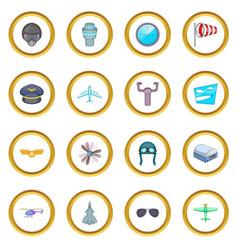 Aviation icons circle vector