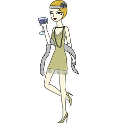 Flapper girl drinking martini vector