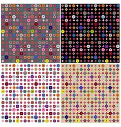Set of four colorful dots patterns vector