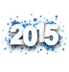 2015 paper sign over snowflakes vector