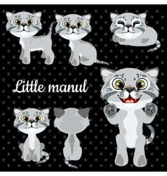 Set of emotions little cat on a black background vector