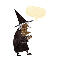 Cartoon ugly old witch with speech bubble vector