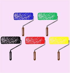 Paint roller different colored paint vector