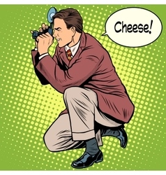 Photographer photographing cheese smile vector