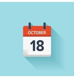October 18  flat daily calendar icon date vector