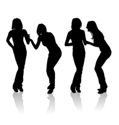 Girls laughing silhouettes vector