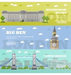London tourist landmark banners vector