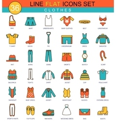 Clothes flat line icon set modern elegant vector