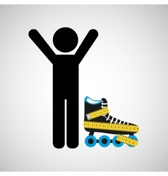 Person and roller skates vector