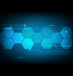 Abstract hexagon digital technology background vector