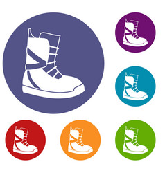Boot for snowboarding icons set vector