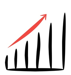 business graph with a red arrow up on white vector image vector image