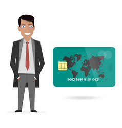 businessman and credit card vector image vector image