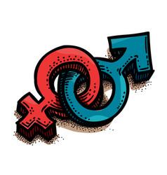 cartoon image of male female sex symbol gender vector image