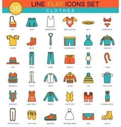 Clothes flat line icon set Modern elegant vector image vector image