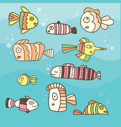 Collection of abstract fish on blue background vector