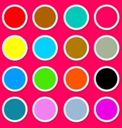 Colorful paper circles on pink - red background vector