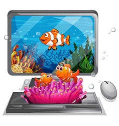 Computer screen with clownfish swimming vector image vector image