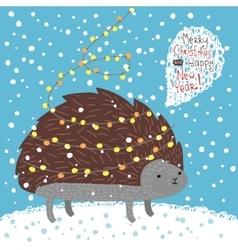 Cute hedgehog greeting card vector