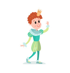 cute redhead cartoon boy character in prince vector image vector image