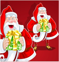 Cute Santa Claus give a gift on red background vector image vector image