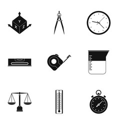 Dimension icon set simple style vector