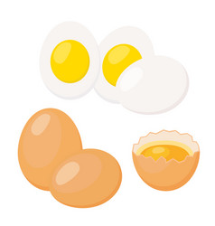 Eggs in flat styleeggshell with yolk boiled eggs vector