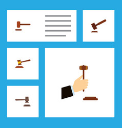 Flat icon hammer set of hammer defense justice vector