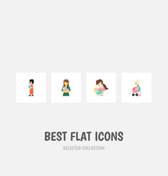 Flat icon mam set of mother child baby and other vector