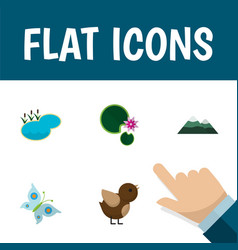 Flat icon natural set of bird lotus pond and vector
