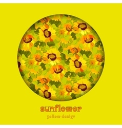 Floral sunflower and leafs circle design vector