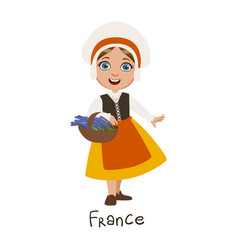 Girl in france country national clothes wearing vector