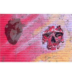 graffiti skull and heart vector image vector image