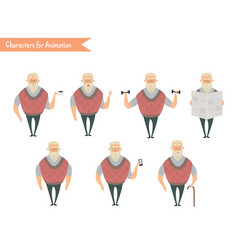 Grandfather character for scenes vector