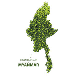 Green leaf map of myanmar vector