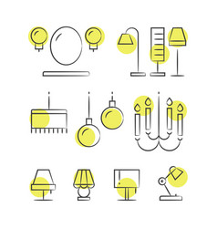 hand drawn lighting line icons vector image vector image