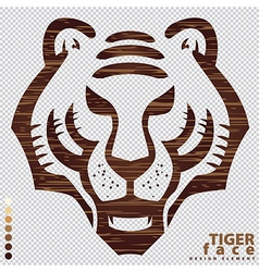Isolate the face of Tiger on wood texture vector image